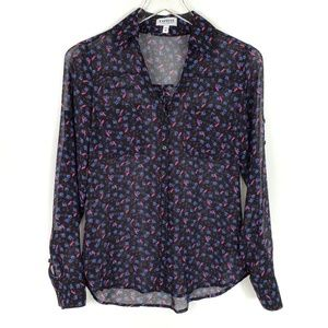 Express Portofino Shirt Floral Birds Long sleeve